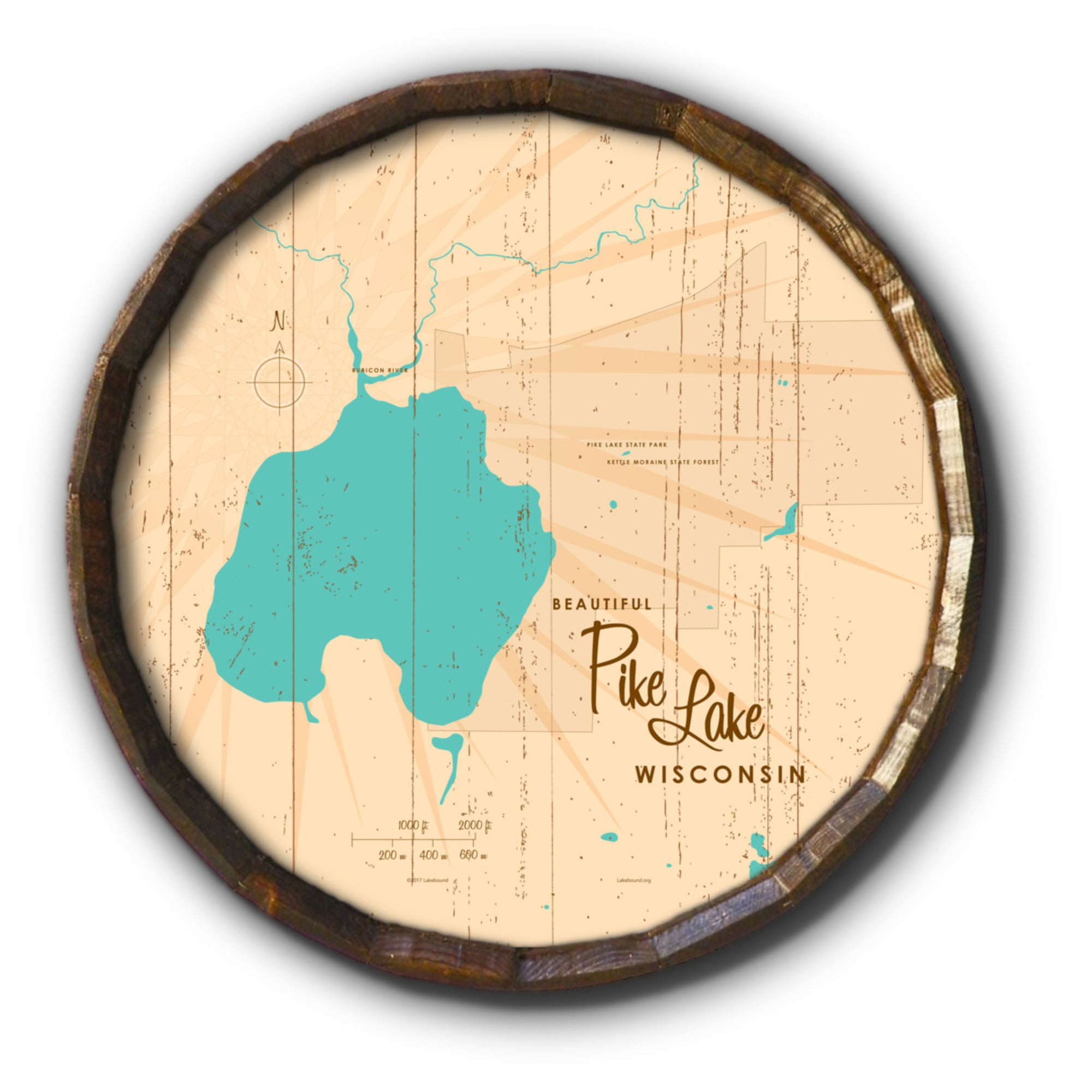 Pike Lake , Rustic Barrel End Map Art