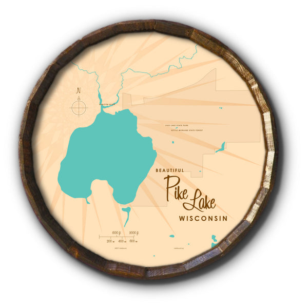 Pike Lake , Barrel End Map Art