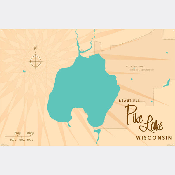 Pike Lake , Metal Sign Map Art