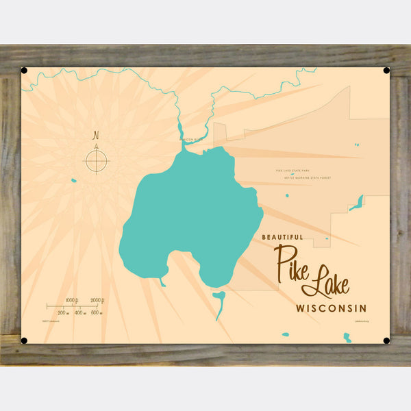 Pike Lake , Wood-Mounted Metal Sign Map Art