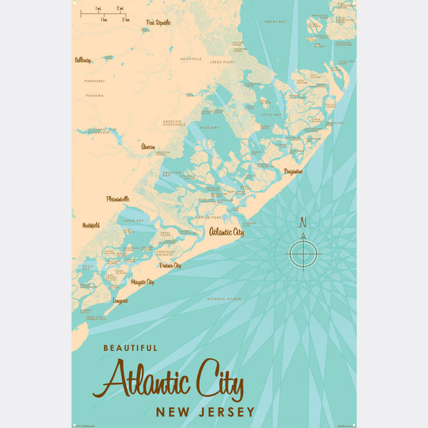 Atlantic City New Jersey, Metal Sign Map Art