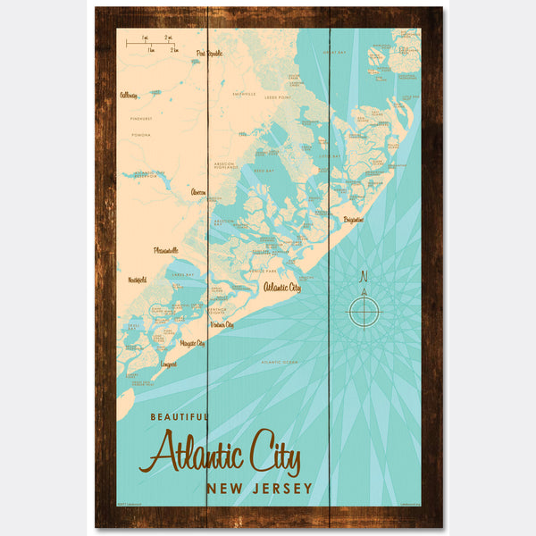 Atlantic City New Jersey, Rustic Wood Sign Map Art
