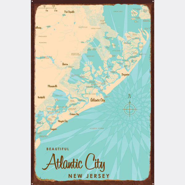 Atlantic City New Jersey, Rustic Metal Sign Map Art