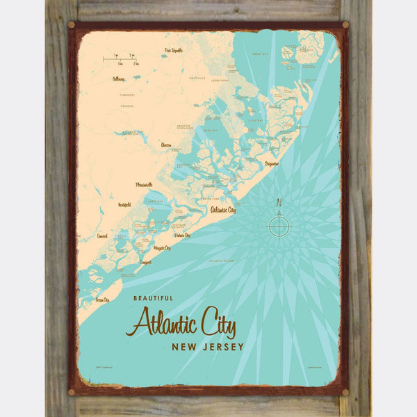 Atlantic City New Jersey, Wood-Mounted Rustic Metal Sign Map Art
