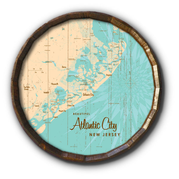 Atlantic City New Jersey, Rustic Barrel End Map Art