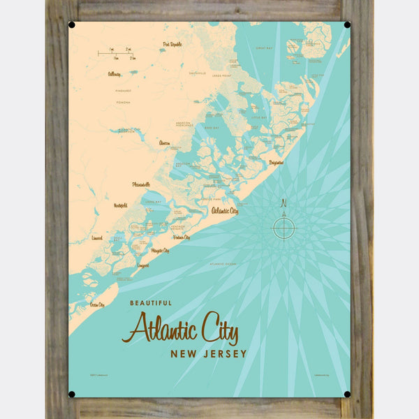 Atlantic City New Jersey, Wood-Mounted Metal Sign Map Art