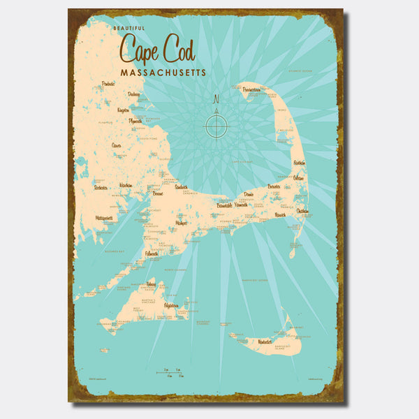 Cape Cod Massachusetts, Sign Map Art
