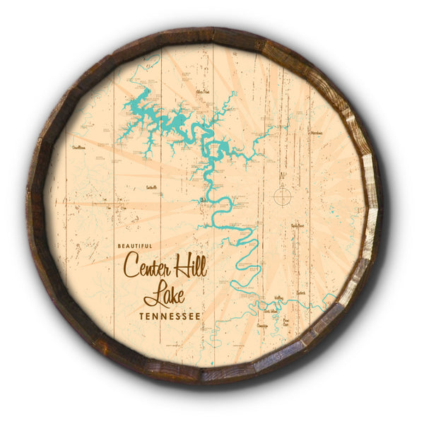 Center Hill Lake, Tennessee, Rustic Barrel End Map Art