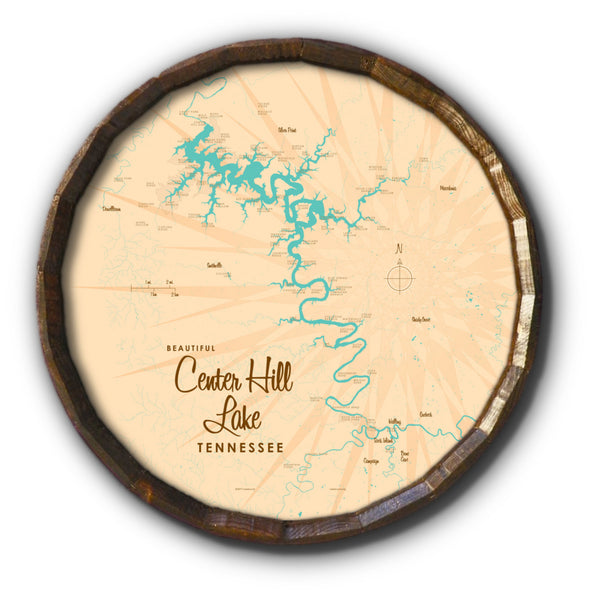 Center Hill Lake, Tennessee, Barrel End Map Art