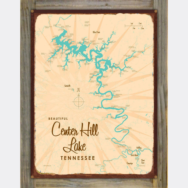 Center Hill Lake, Tennessee, Wood-Mounted Rustic Metal Sign Map Art