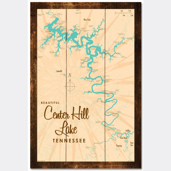 Center Hill Lake, Tennessee, Rustic Wood Sign Map Art