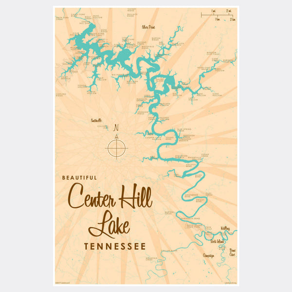 Center Hill Lake, Tennessee, Paper Print