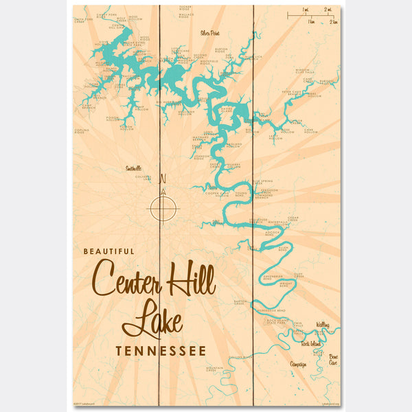 Center Hill Lake, Tennessee, Wood Sign Map Art