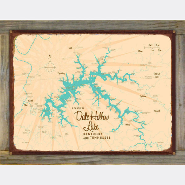Dale Hollow Lake, Kentucky & Tennessee, Wood-Mounted Rustic Metal Sign Map Art