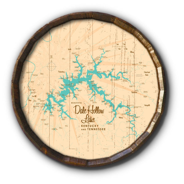 Dale Hollow Lake, Kentucky & Tennessee, Rustic Barrel End Map Art