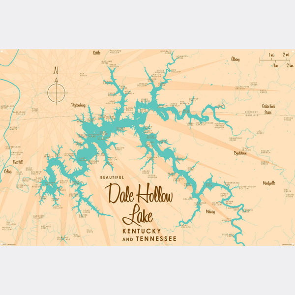 Dale Hollow Lake, Kentucky & Tennessee, Metal Sign Map Art