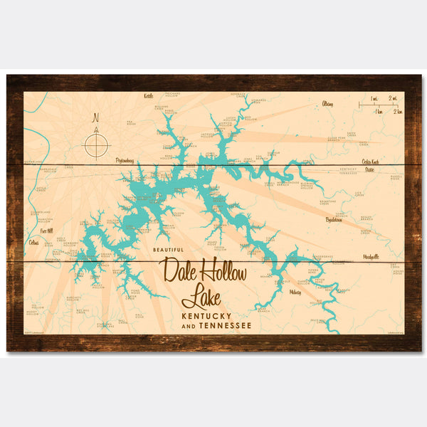 Dale Hollow Lake, Kentucky & Tennessee, Rustic Wood Sign Map Art