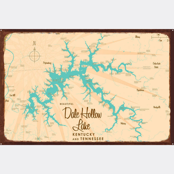 Dale Hollow Lake, Kentucky & Tennessee, Rustic Metal Sign Map Art