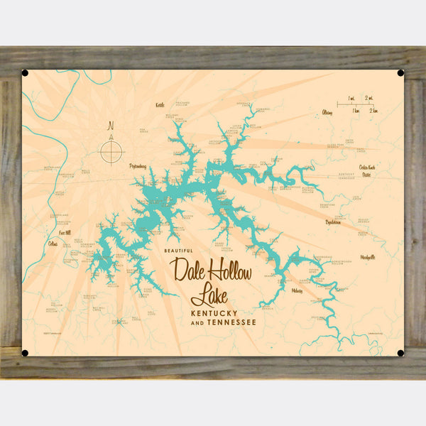 Dale Hollow Lake, Kentucky & Tennessee, Wood-Mounted Metal Sign Map Art