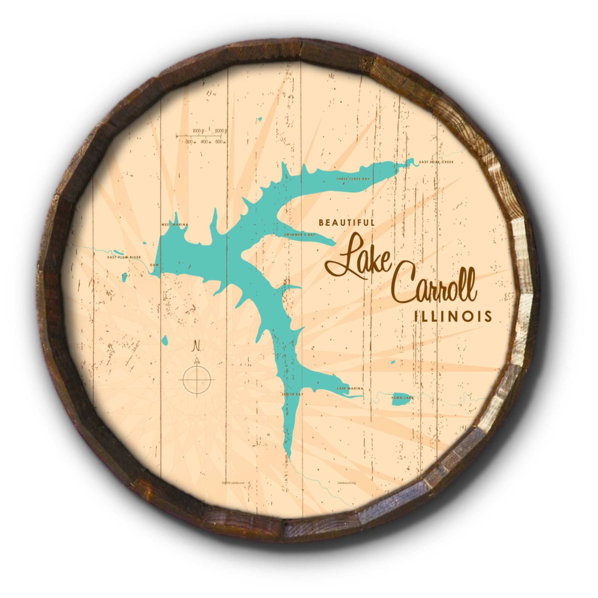 Lake Carroll Illinois, Rustic Barrel End Map Art