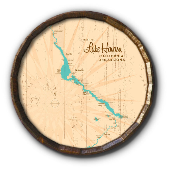 Lake Havasu, California & Arizona, Rustic Barrel End Map Art