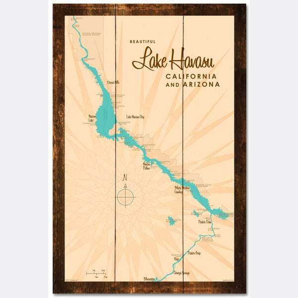 Lake Havasu, California & Arizona, Rustic Wood Sign Map Art