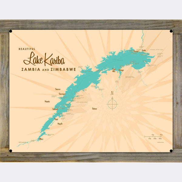 Lake Kariba, Zambia & Zimbabwe, Wood-Mounted Metal Sign Map Art