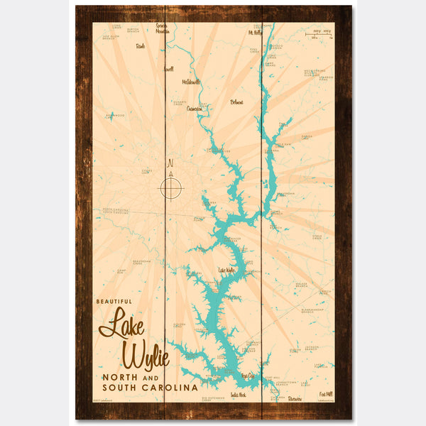 Lake Wylie, Carolinas, Rustic Wood Sign Map Art
