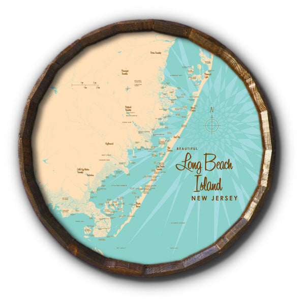 Long Beach Island, New Jersey, Barrel End Map Art
