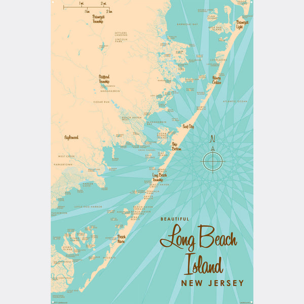 Long Beach Island, New Jersey, Metal Sign Map Art