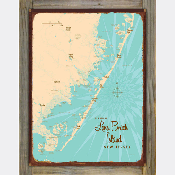 Long Beach Island, New Jersey, Wood-Mounted Rustic Metal Sign Map Art