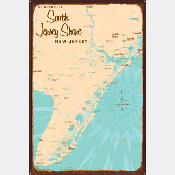 South Jersey Shore, Rustic Metal Sign Map Art