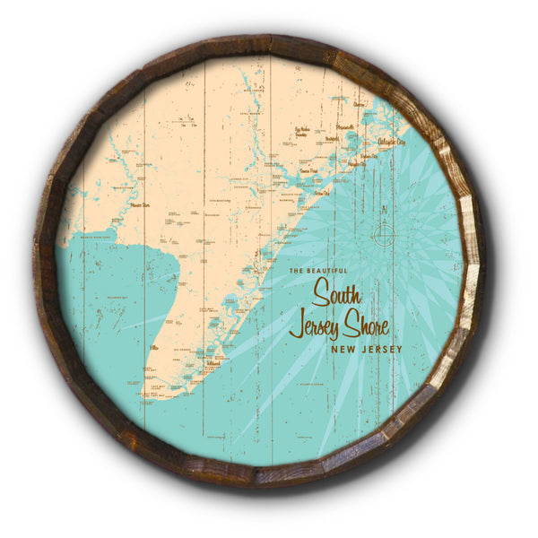 South Jersey Shore, Rustic Barrel End Map Art