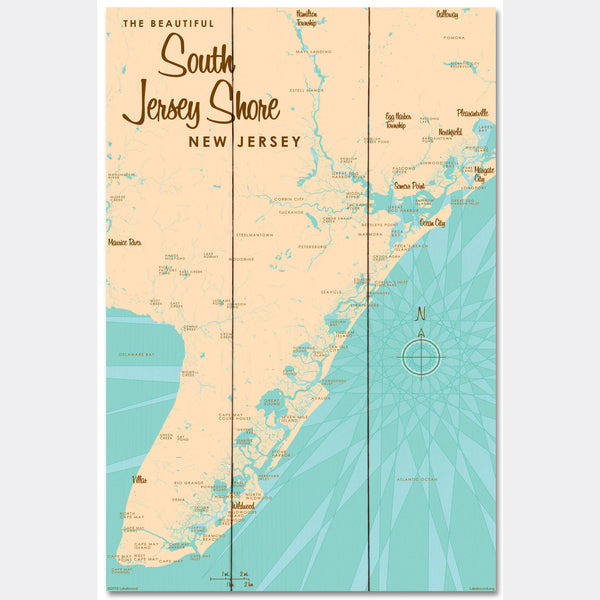 South Jersey Shore, Wood Sign Map Art