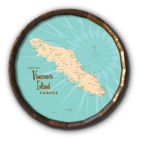 Vancouver Island, Canada, Barrel End Map Art