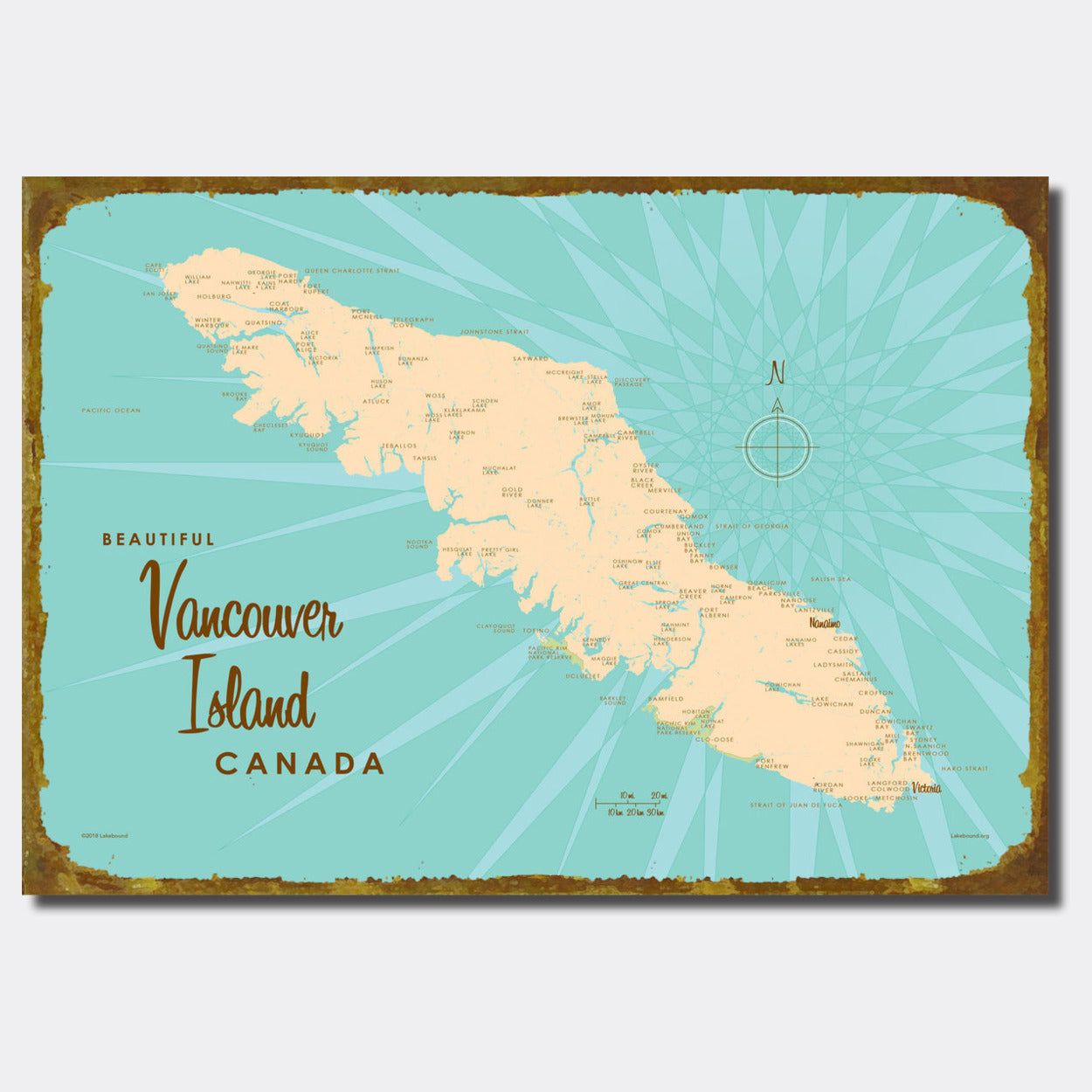 Vancouver Island Canada Sign Map Art Lakebound
