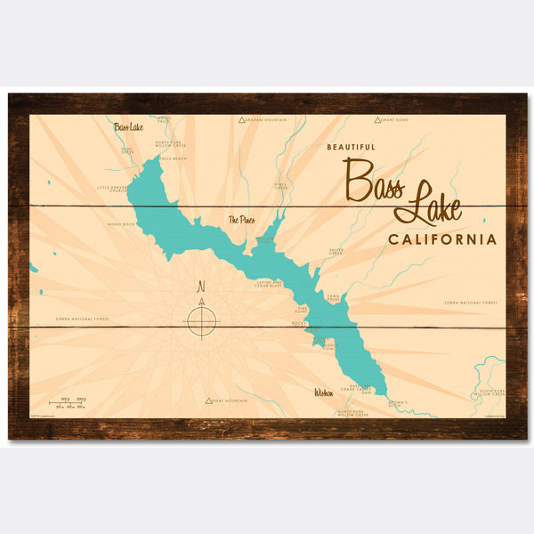 Bass Lake California, Rustic Wood Sign Map Art