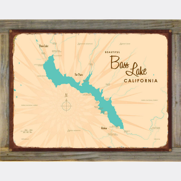 Bass Lake California, Wood-Mounted Rustic Metal Sign Map Art