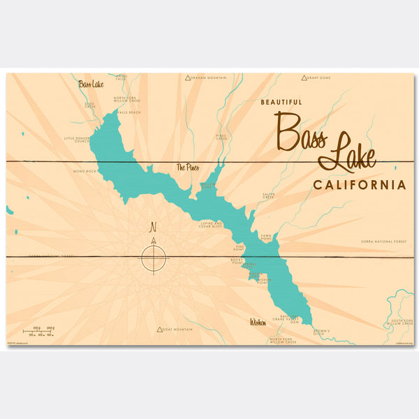 Bass Lake California, Wood Sign Map Art