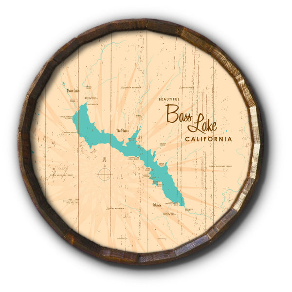 Bass Lake California, Rustic Barrel End Map Art