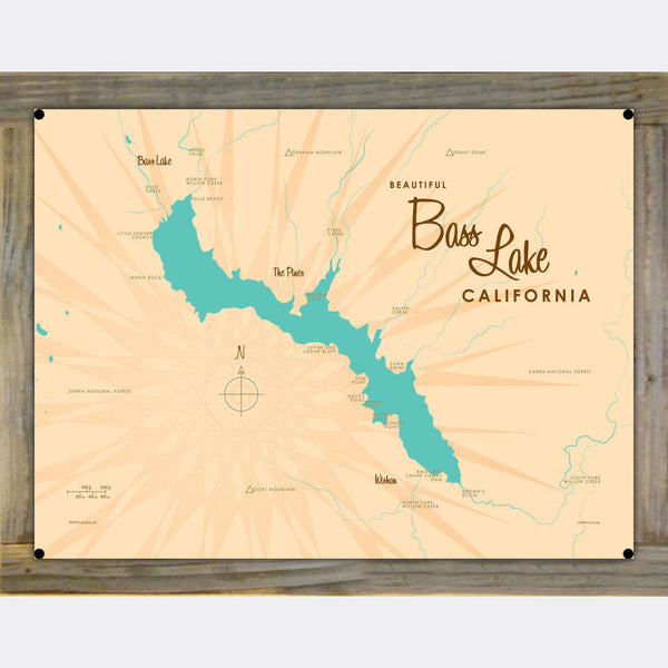 Bass Lake California, Wood-Mounted Metal Sign Map Art