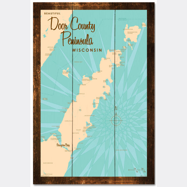 Door County Peninsula Wisconsin, Rustic Wood Sign Map Art