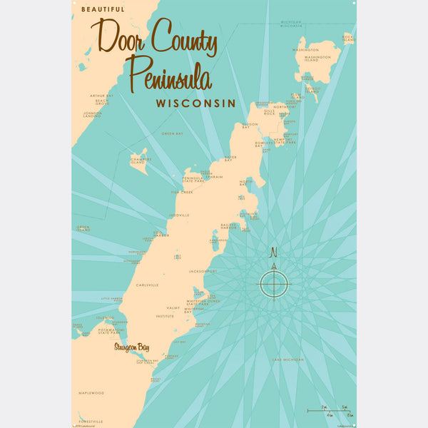 Door County Peninsula Wisconsin, Metal Sign Map Art
