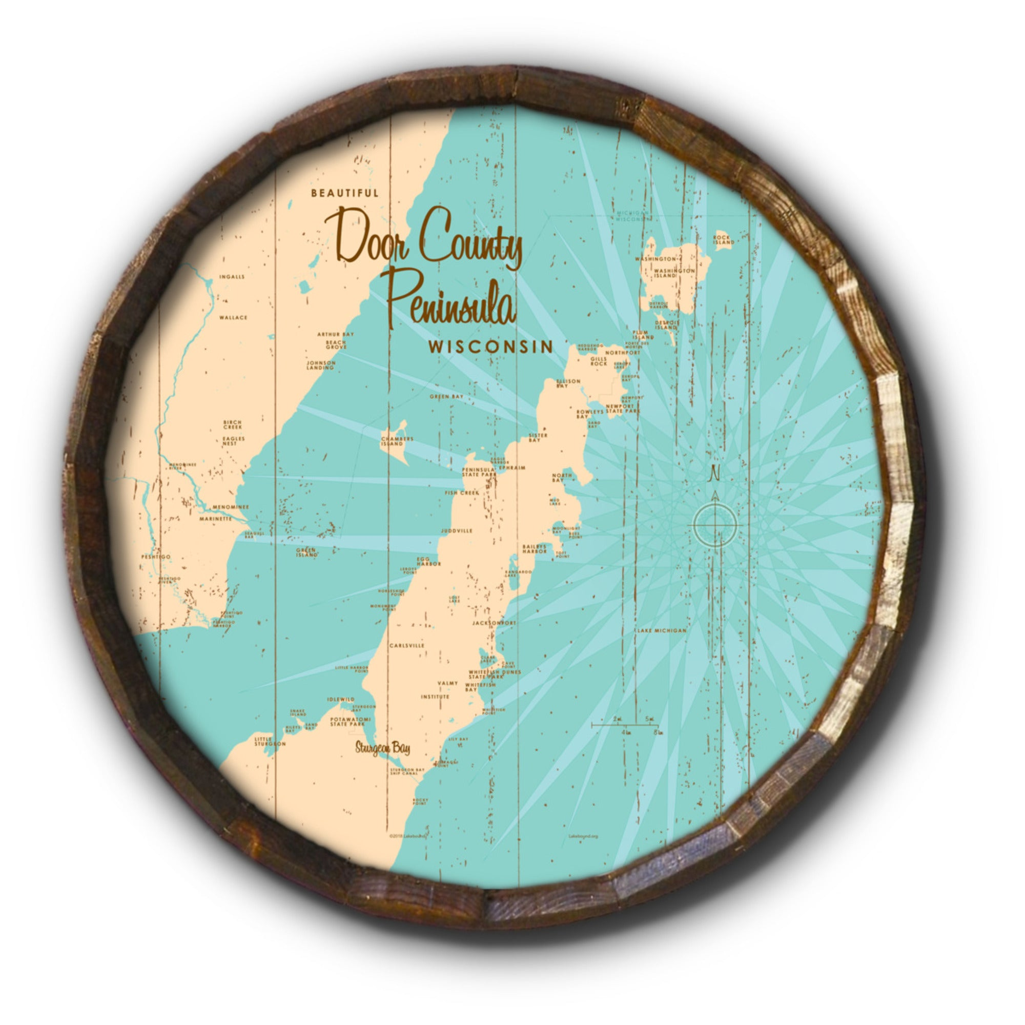 Door County Peninsula Wisconsin, Rustic Barrel End Map Art