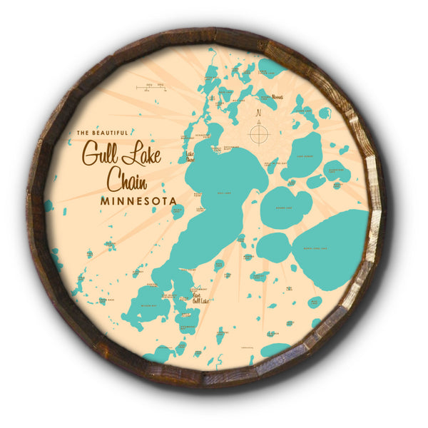 Gull Lake Chain Minnesota, Barrel End Map Art