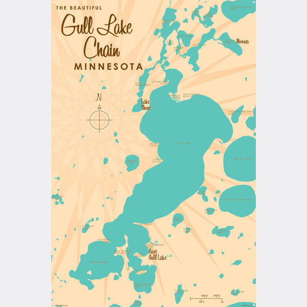 Gull Lake Chain Minnesota, Metal Sign Map Art