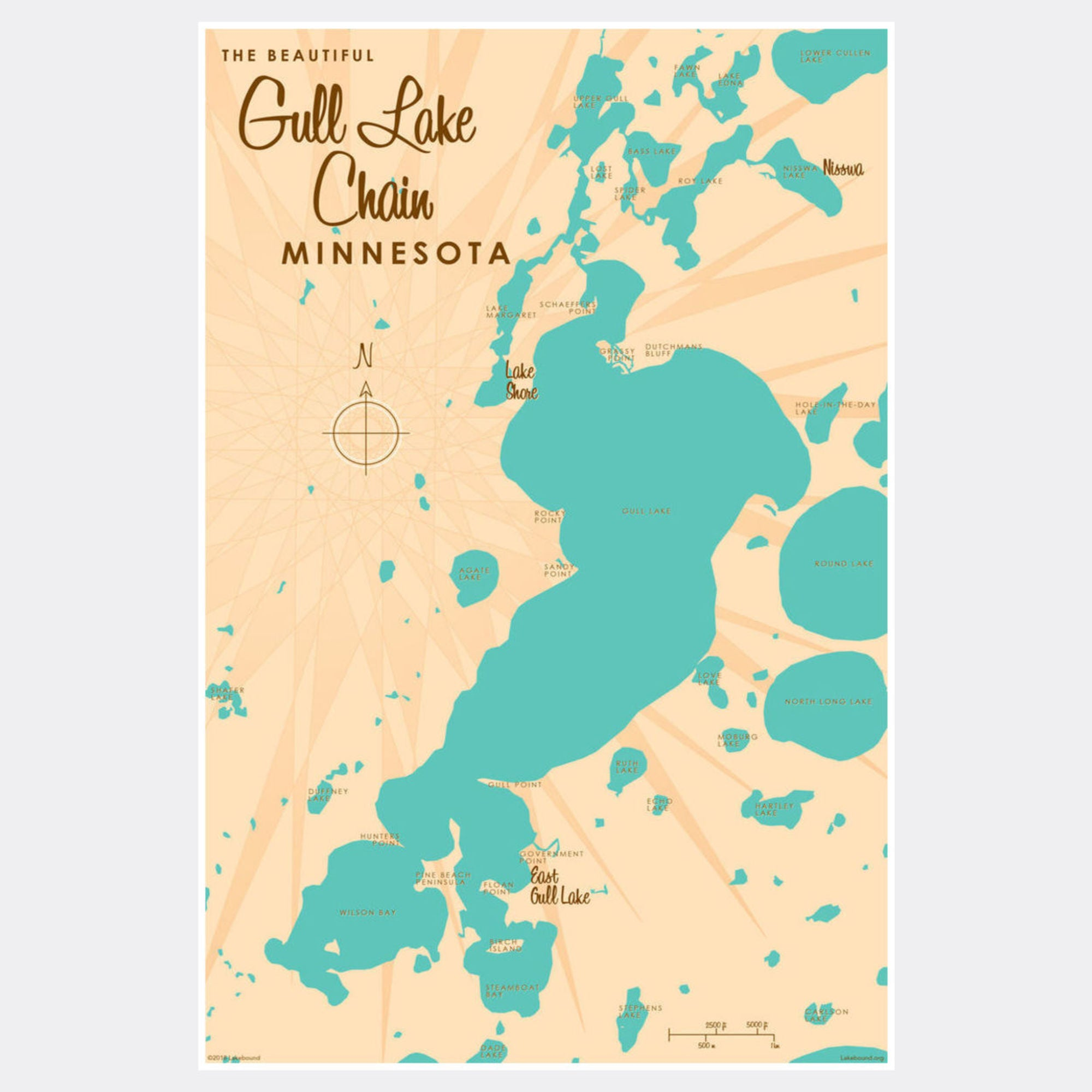 Gull Lake Chain Minnesota, Paper Print