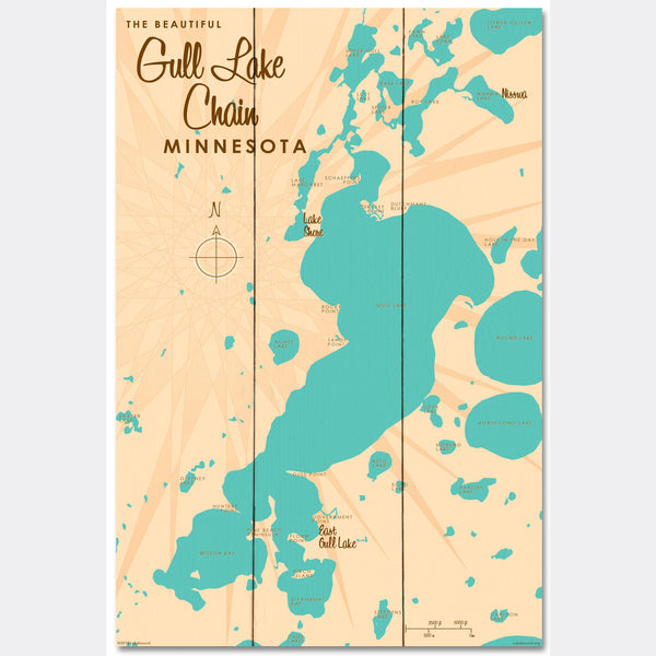 Gull Lake Chain Minnesota, Wood Sign Map Art