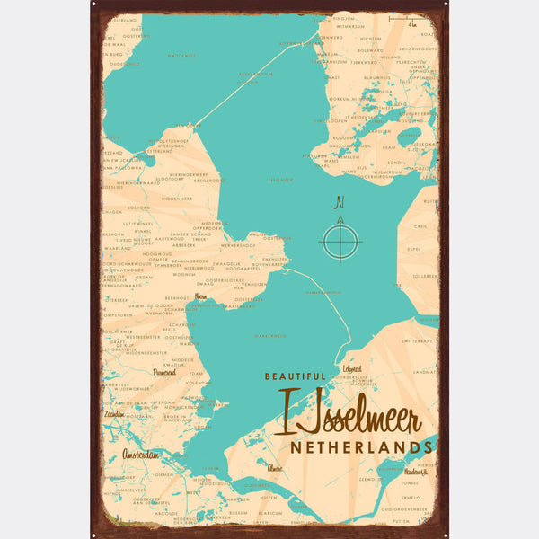 IJsselmeer Netherlands, Rustic Metal Sign Map Art