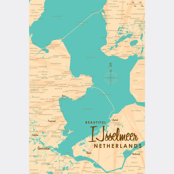 IJsselmeer Netherlands, Metal Sign Map Art
